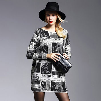 Brand New 2016 Fashion Autumn Winter Women Dress Print Knitwear Pullover Dresses Loose Long Sleeves Wool Dresses 6010