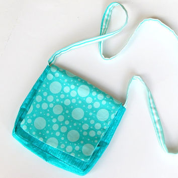 CD Bag Blue Hip Bag Cluch Cross Strap Purse Cotton Handmade with Flap Bag