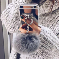 Luxury Metal Rope Mirror Rabbit Fur Ball Case Cover For Samsung Galaxy Note 3 Note 4 Note 5 Note 7 Case Cover