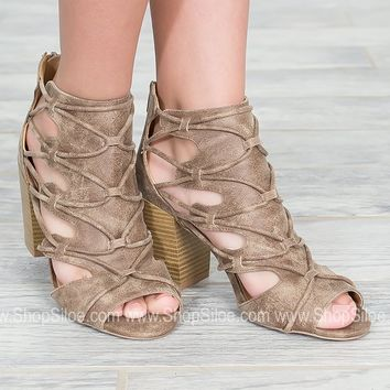 Sanjay Taupe Distressed Heels