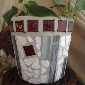 Handmade mosaic flower pot, indoor planter, red glass planter, handmade mosaic, garden planter, kitchen planter, herb pot, handmade planter