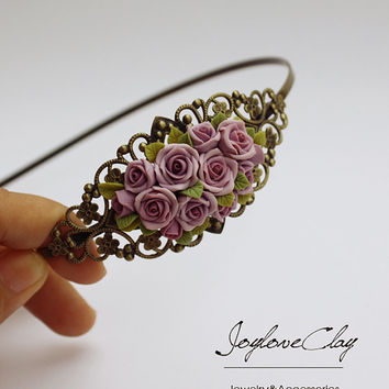 pink polymer clay rose hair stick, hair accessories ,handmade flowers