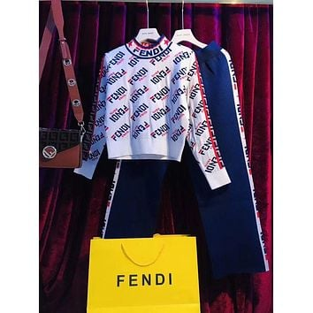 FENDI Mania Knit High Neck Pullover Sweaters + Knit Pants Set Two-Piece