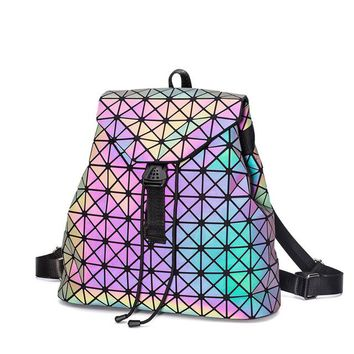School Backpack trendy Japan Luminous Geometry Women Backpack Shoulder Bag Folding Student School Bags For Teenage Girl Hologram Bao Female Backpacks AT_54_4
