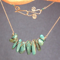 Wire-wrapped smooth turquoise cluster Necklace 334