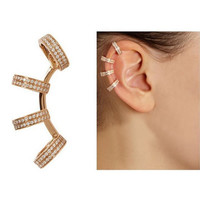 Gold Rhinestone Ring Ear Cuff