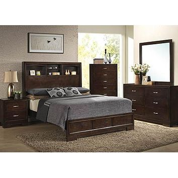 C4233A Walnut Queen Bookcase Bed