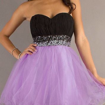 CLEARANCE - Short Poofy Black Lilac Homecoming Dress Pleated Bodice Empire (Size 2XL)