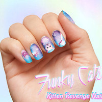 Kitten Revenge Space Cat Nail Decals - Pastel Nail Wraps Nail Art Galaxy Kitten Laser Cat Heart Pink Cosmos Pastel Goth