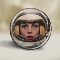 Woman Astronaut in helmet  - pin button, magnet, mirror, or bottle opener 2.25 round circle - Your choice