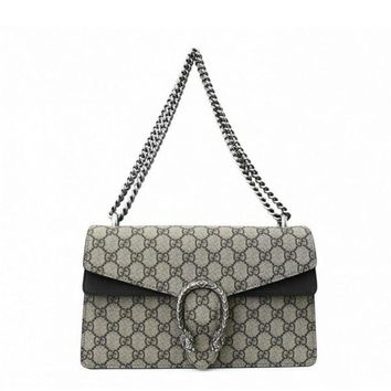 Gucci Silver Tone Dionysus GG Supreme Shoulder Bag
