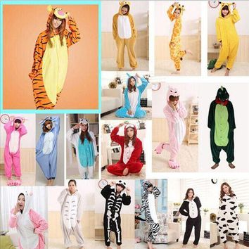 PEAPU3S 2017 Adults Flannel Pajamas All in One Pyjama Animal Suits Unisex Men Winter Homewear Cute Cartoon Animal Pajama Sets Sleepwear