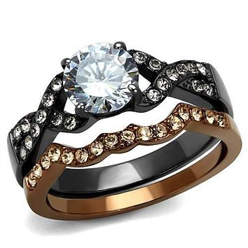 WildKlass Stainless Steel Ring IP Light Black & IP Light Coffee Women AAA Grade CZ Clear