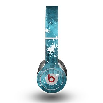 The Abstract Blue Paint Splatter Skin for the Beats by Dre Original Solo-Solo HD Headphones