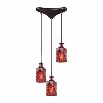 Giovanna 3 Light Triangle Pan Fixture In Oil Rubbed Bronze With Wine Red Decanter Glass