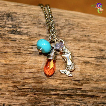 Mermaid Anklet for beach brides, turquoise & orange Hawaiian jewelry made in Hawaii