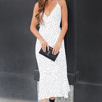Anita Polka Dot Wrap Dress (White)