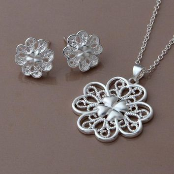 Celtic Hearts Sterling Silver Necklace and Earrings Set