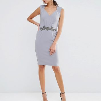 Little Mistress Pencil Dress With Embellished Waistline at asos.com