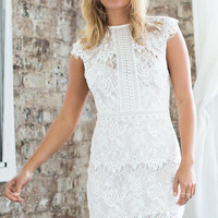 White Cap Sleeved High Round Neckline Mini Lace Dress