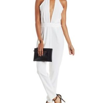 White Deep Plunge Halter Jumpsuit by Charlotte Russe
