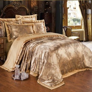 Jacquard Silk bedclothes Bedding Set Luxury 4/6pcs Gold Satin Bed Set duvet/quilt cover Queen King Bed Sheet Pillowcases Cotton