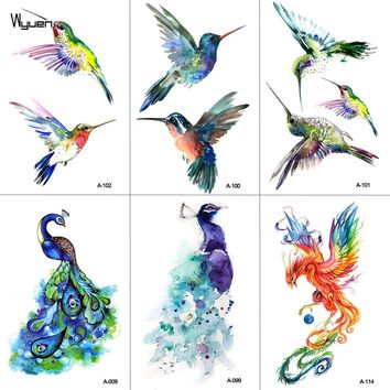 WYUEN Watercolor Hummingbird Temporary Fake Tattoo Body Art Sticker Waterproof Hand Bird Tattoo for Men Hot Design 9.8X6cm A-103