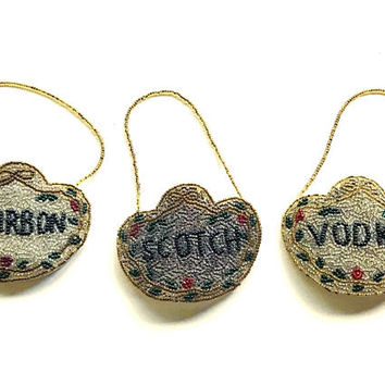 1950s Mid Century Beaded Decanter Labels / Bourbon Scotch and Vodka Bottle Tags / Large Bead Embellished Decanter Necklace / Vtg Bar Decor