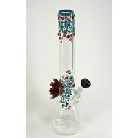 Beaker Based Bong - The Lotus - Teal & Red
