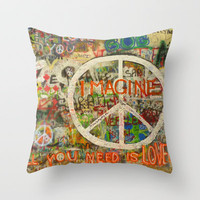 All You Need is Love - The Beatles - Imagine - John Lennon - Peace Sign Throw Pillow by Tara Holland