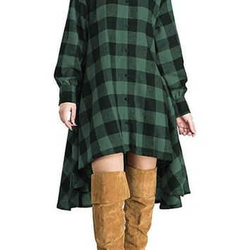 Green Plaid Single Breasted Swallowtail High-low Turndown Collar Casual Midi Dress