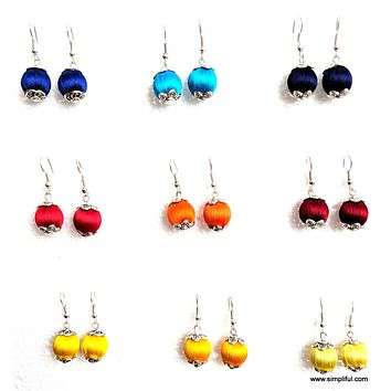 Silk Thread silk bead silver cap hook drop Earring