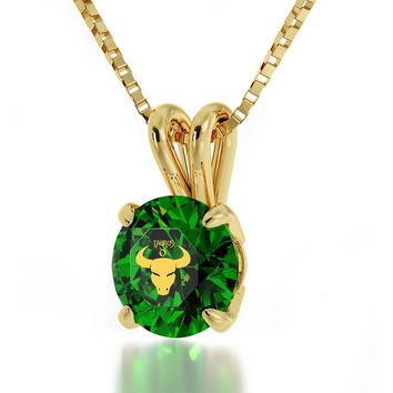 Taurus Sign, 24k Gold Plated Necklace, Swarovski