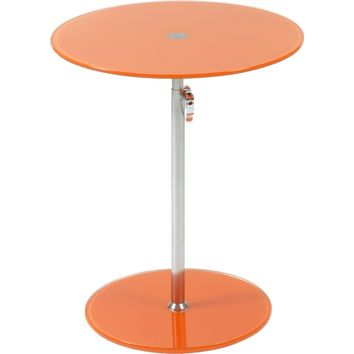 Radinka Adjustable Height Round End / Side Table Orange Glass & Chrome