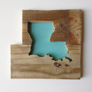 Wooden State Shape -  Louisiana