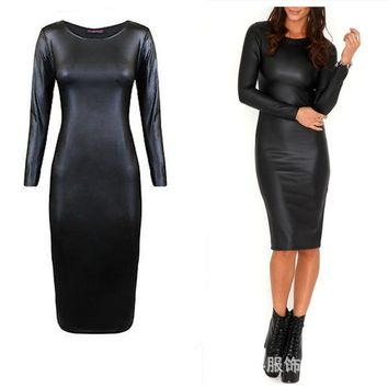 SexeMara KNITTING E4 New Spring Women Sexy Bandage Dress PU Leather Long Sleeve Women's Clubwear Midi Vestidos Hip