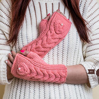 Knit gloves fingerless, Cable knit Mittens, Knitted Pink gloves, Fingerless, Arm Warmers, Eco Friendly, Gift For Her, Handmade Gloves