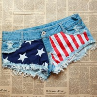 Stars And Stripes Print Denim Shorts