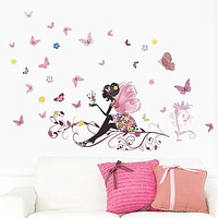 Butterfly Flower Fairy Wall Stickers For Kids Room