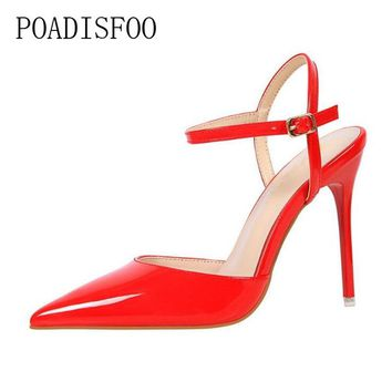 POADISFOO fashion Thin Heels Hollow super High heel shoes Pumps shoes Sexy Pointed toe rivet women Shoes .DS-86-1