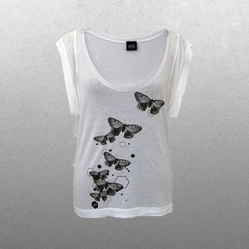 Ladies Black and White Butterfly T-Shirt