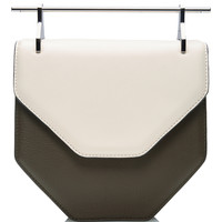 Amor Fati Leather Pentagon Bag in Ivory and Green