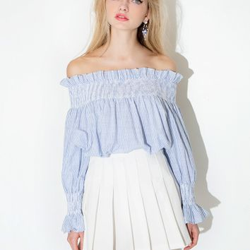 Stripe Babydoll Off The Shoulder Top
