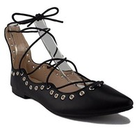 Women's Danielle Lace up Ankle High Ballet Flat Shoes