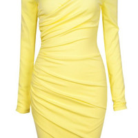 Yellow Zip-Up Back Off-Shoulder Ruched Mini Dress
