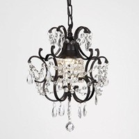 Versailles One Light Black Crystal Mini Chandelier Draped with Elegant Crystal Accents
