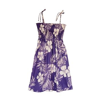 Waikiki Purple Short Hawaiian Smocked Sundress