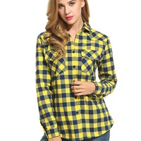 Zeagoo Women's Roll Up Sleeve Casual Loose Boyfriend Plaid Button Down Shirt