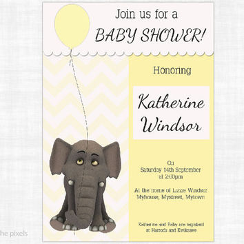 Custom Elephant Baby Shower Invitation to Print, Yellow Gender Neutral Digital Card, Personalized, JPG PDF, DIY card to print, customised
