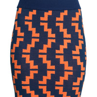 H&M - Jacquard-knit Skirt - Orange - Ladies